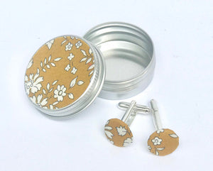 Liberty cufflinks - Liberty of London cufflinks presented in a mini metal tin finished with matching Liberty fabric