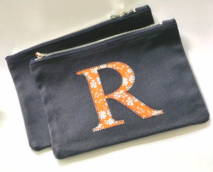 "Liberty of London fabric - additional 4"" letter for a calico zip bag"