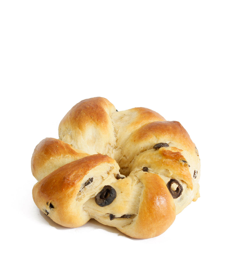 Braided Kitke Bread Roll with Black Olives