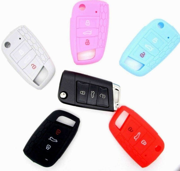 VW Seat Skoda 3 button Soft Silicon Key Fob Case Holder Cover