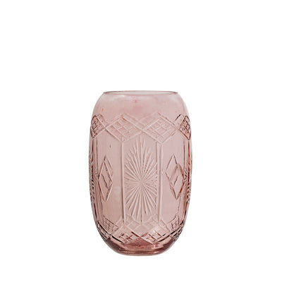 Etched Glass Vase in Rose