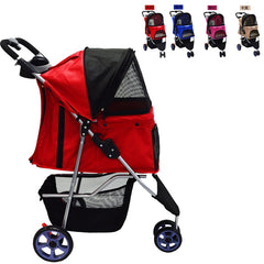A 3 Wheels Pet Trolley  Lightweight Folding Cat Dog Stroller Easy Storage with Removable Disks Soft Sleeping Mats Shock Absorber
