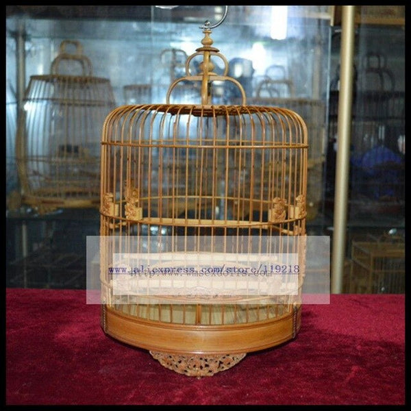 Diameter 24cm embroidered eye Jinyan Furong bird cage old bamboo hand work carving bird cage [five Fu map]