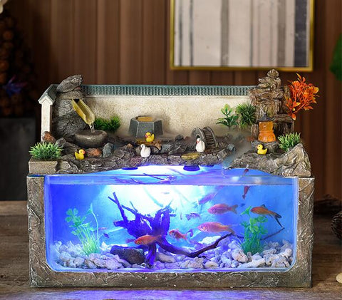 c180731084 Installation video ecological fish tank desktop home fountain aquarium wind water wheel