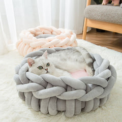 JORMEL Handmade Knit Cat Beds Mats Warm Soft Small Dogs Kennel Puppy Kitten Cave Basket Sleeping Bag Detachable Pet House