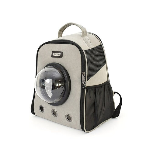 Pet Carrier Backpack Window Travel Cat Carrier Small Dog Carrier Bag Suede Fabric Transparent Cover Pet Backpack for Cats Dogs