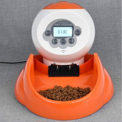 Automatic Pet Feeder, Recordable Intelligent Pet Feeder, Cat and Dog Timing Quantitative Feeding Machine EU Plug