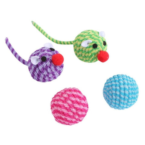 Cat Play Chewing Toy Pet Rope Ball Teaser Ball Pets Assorted Ball With Feather Interactive Cat Toys Play Scratch Catch Kitten