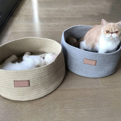 Pet Detachable Washable Round House Cat Bed Round Pet Kitten Bed For Small Pet Four Seasons Sleeping House Bed Mat