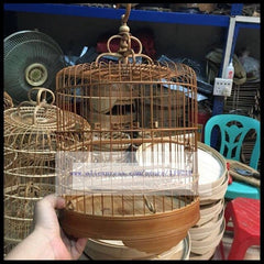 24 26cm Flat top handmade bird cage stay green embroidered eye gold green bamboo bird cage 48 52 56 branch