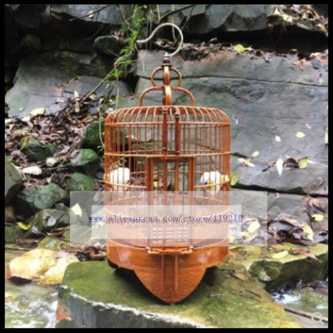 1Set Thrush birdcage 36cm bamboo pure manual birdcage starling grackle bird cage