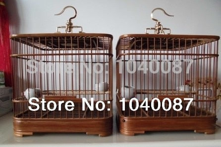 (FREE SHIPPING)double cages,HANDMADE pet cages, bird cages, natural bamboo cages,