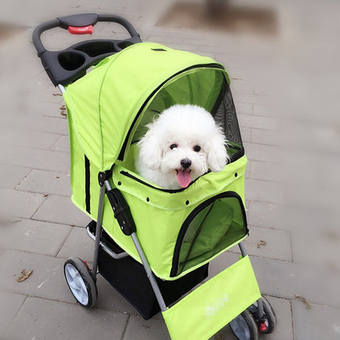 Pet Stroller For Carrying Dogs Cats 4 Wheels Cart Small Animals Puppy Chihuahua Carrier One Key Folding
