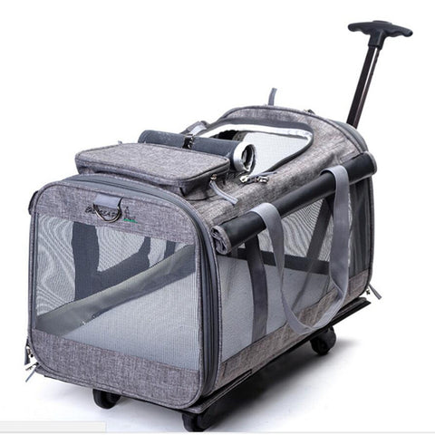 Detachable Pet Trolley Case With Whees Dog Carrier Bags Tote Sling Bag Airline Approved Travel Carrier Cage Handbag