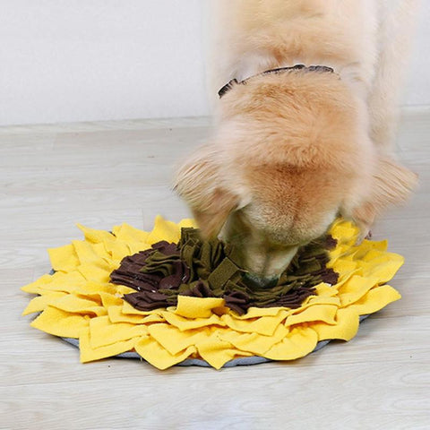 Pet Dog Sniffing Pad Sunflower Shaped Training Blanket Feeding Mat Dogs Toy