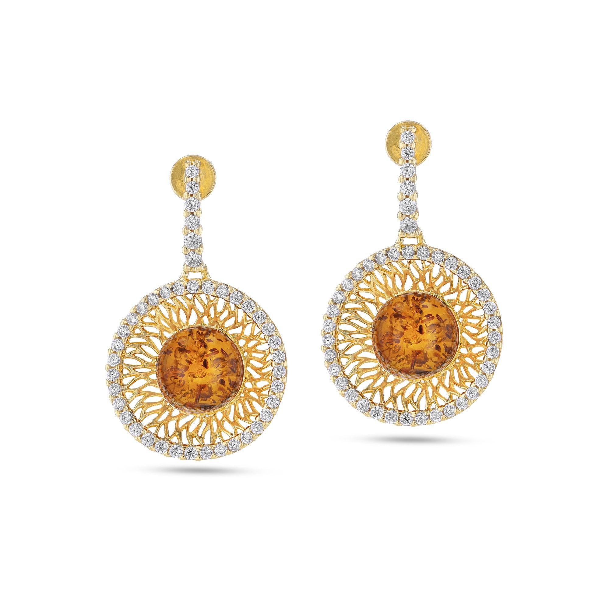 Goddess of Zircons Cognac Earrings - Koraba