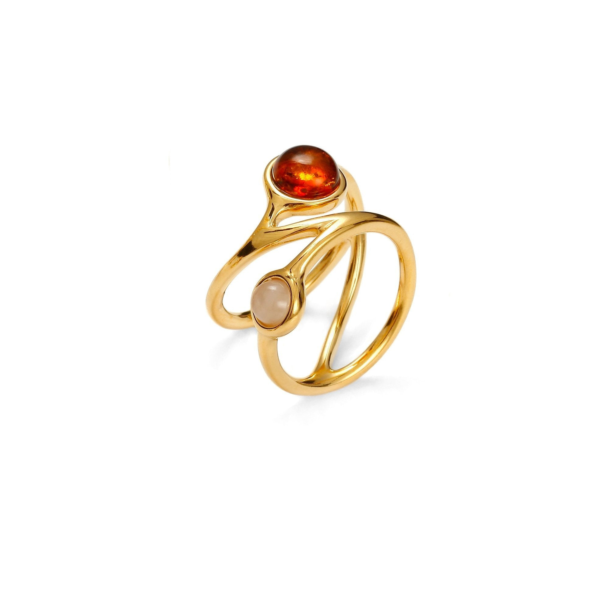 Golden Orbit Cognac Ring - Koraba