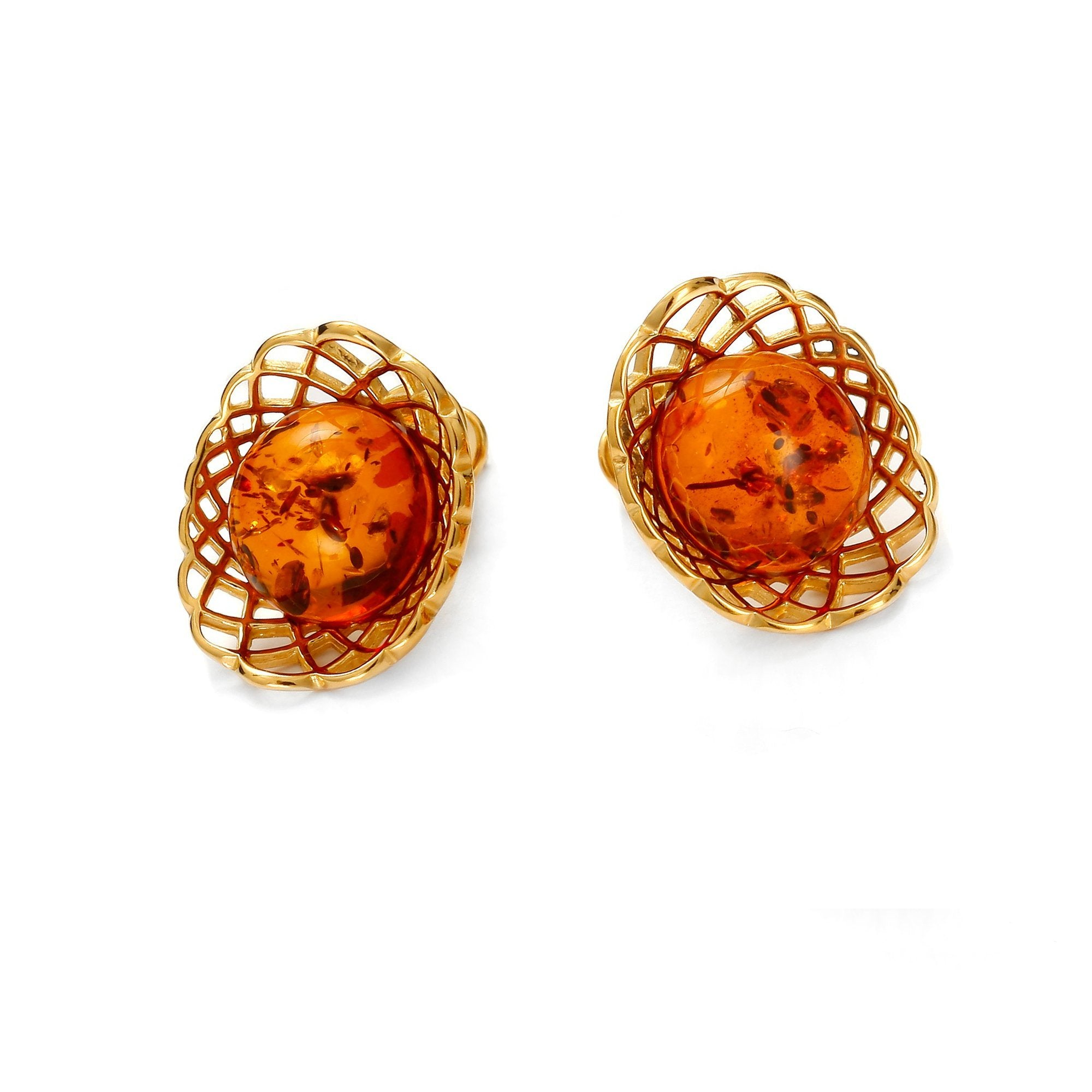 Golden Web Cognac Earrings - Koraba