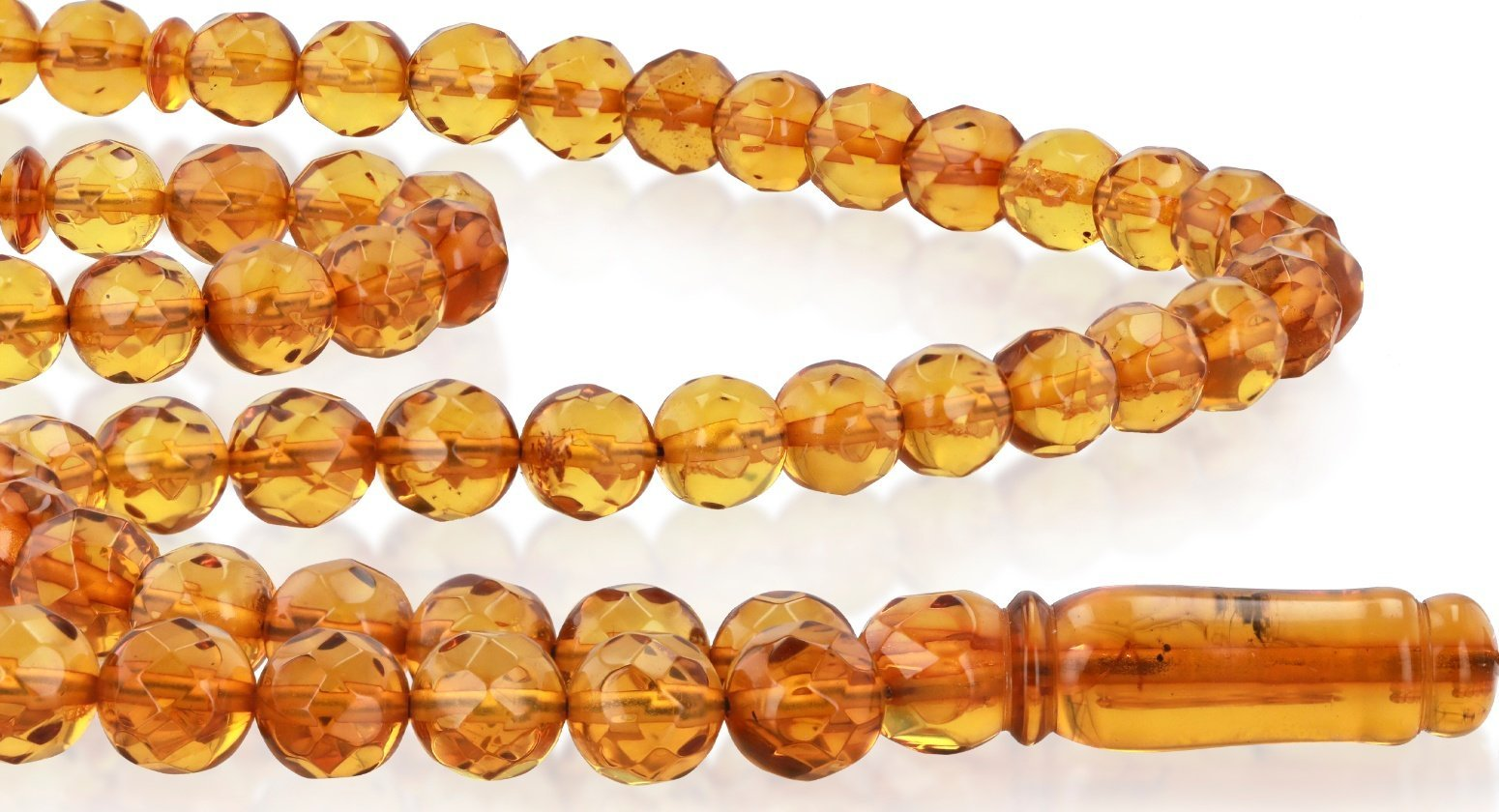 Natural Baltic Amber Rosary Round Cut Faceted Cognac Color 99 Beads - Koraba