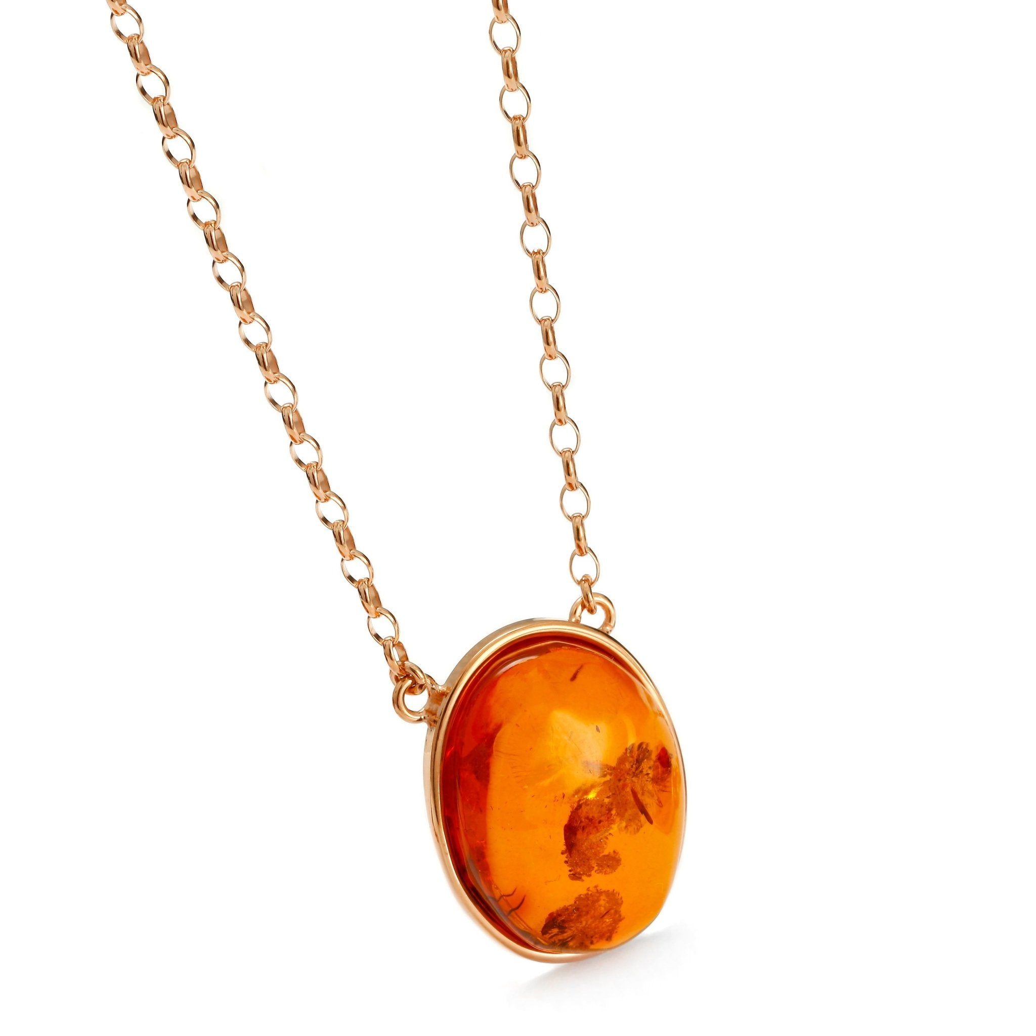 Oval Amulette Cognac Necklace - Koraba
