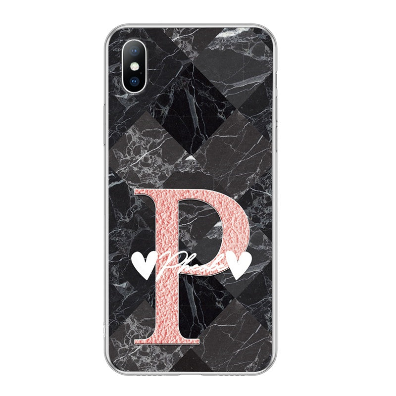 Custom Black Marble iPhone Case With Name Heart Shape