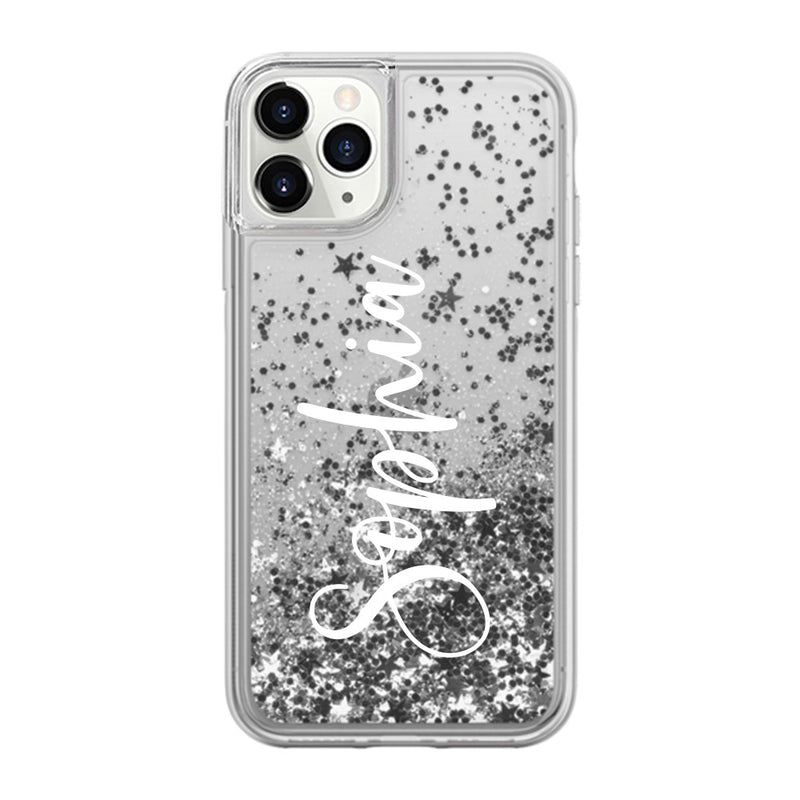 Custom Sliver Glitter Sand iPhone Case With Your Name