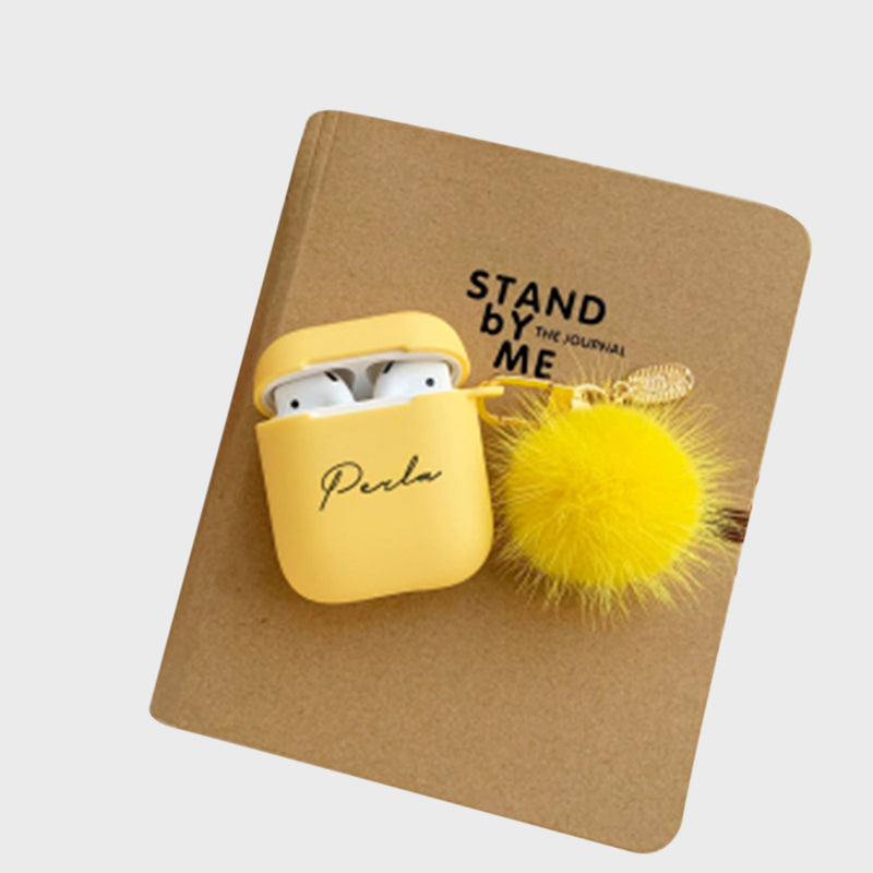 Custom Yellow Airpods Case With Furry Key Rings - Lethetea Accessories