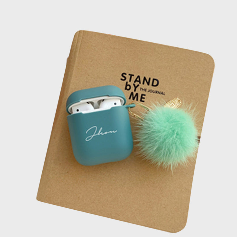 Custom Green Airpods Case With Furry Key Rings - Lethetea Accessories