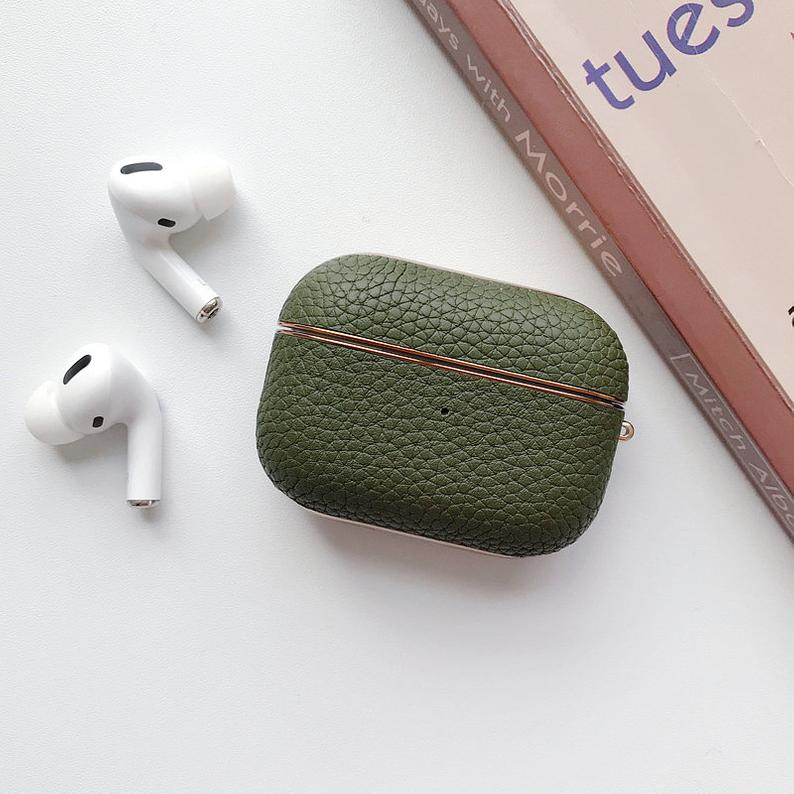 Green Leather Airpods Case - Lethetea Accessories