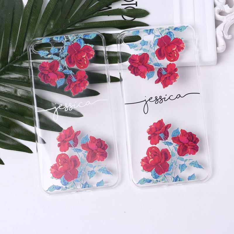 Custom Rose Pattern iPhone Case With Name