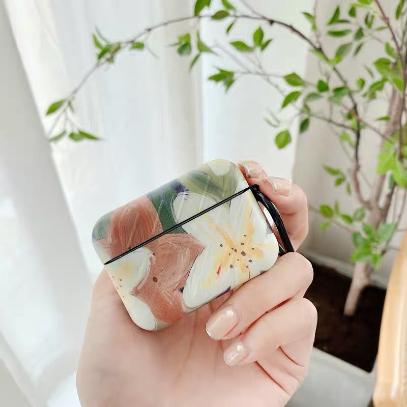 Oil Paint Flowers Airpods Case