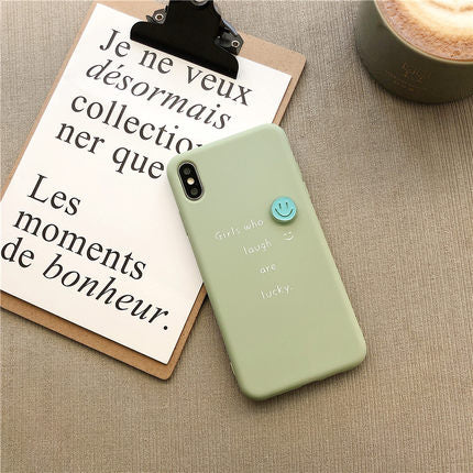 Simple Green Smile Face iPhone Case