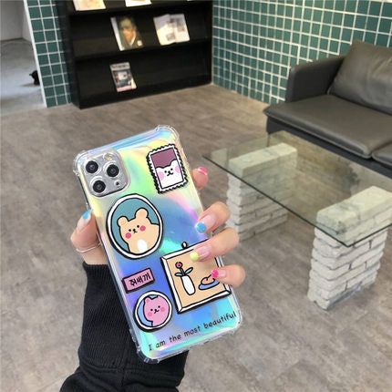 Bear Cartoon Laser iPhone Case