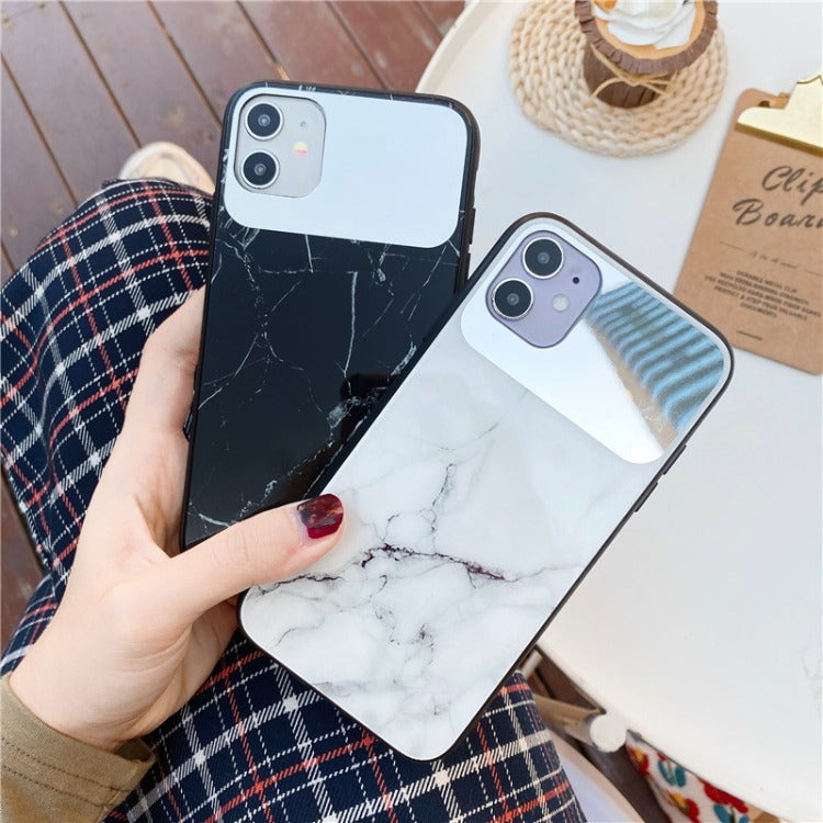 White Mirror Marble iPhone Case