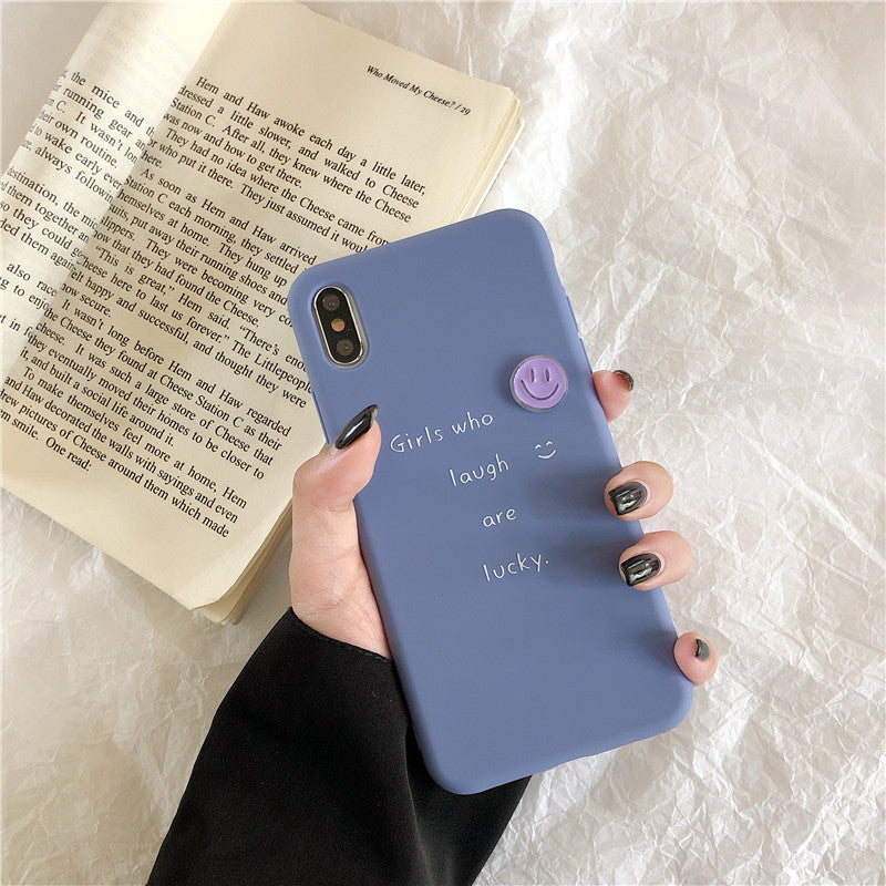 Simple Blue Smile Face iPhone Case