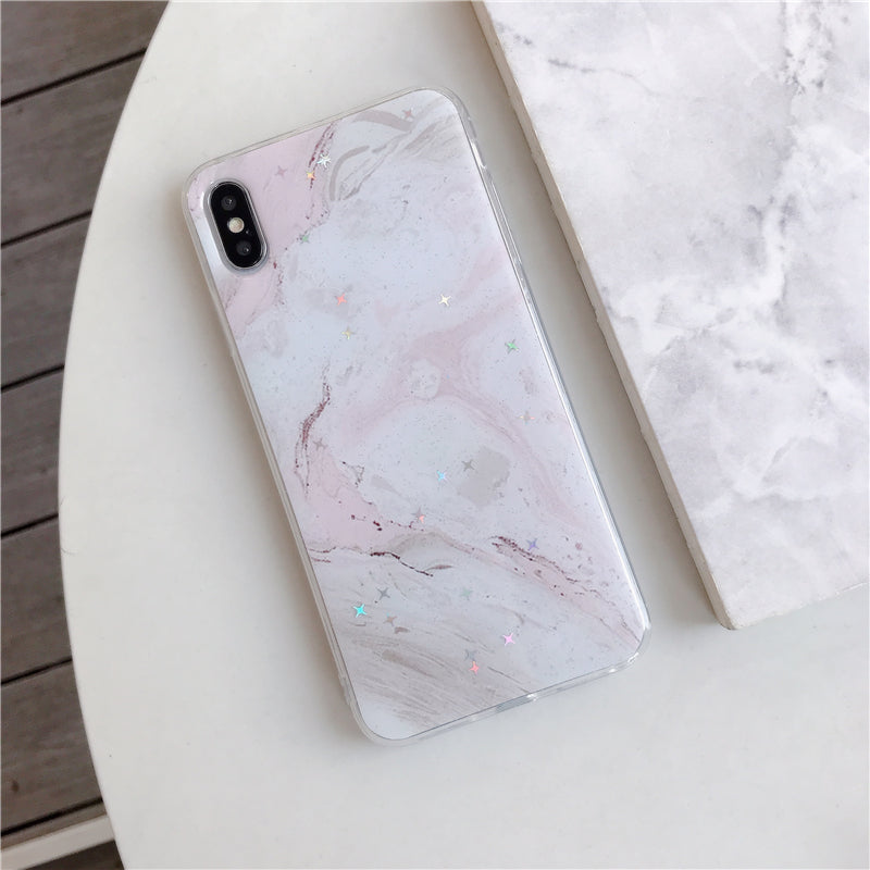 Pink & White Star Marble iPhone Case