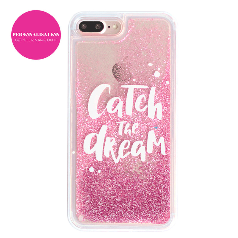 Custom Pink Glitter Sand iPhone Case With Your Name