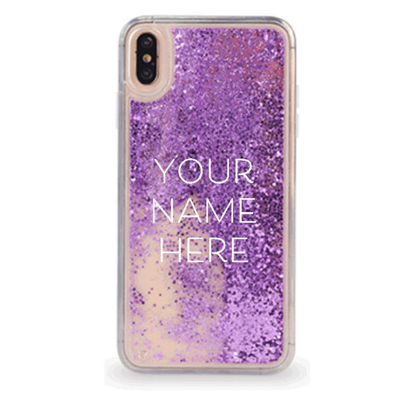 Custom Purple Glitter Sand iPhone Case With Your Name