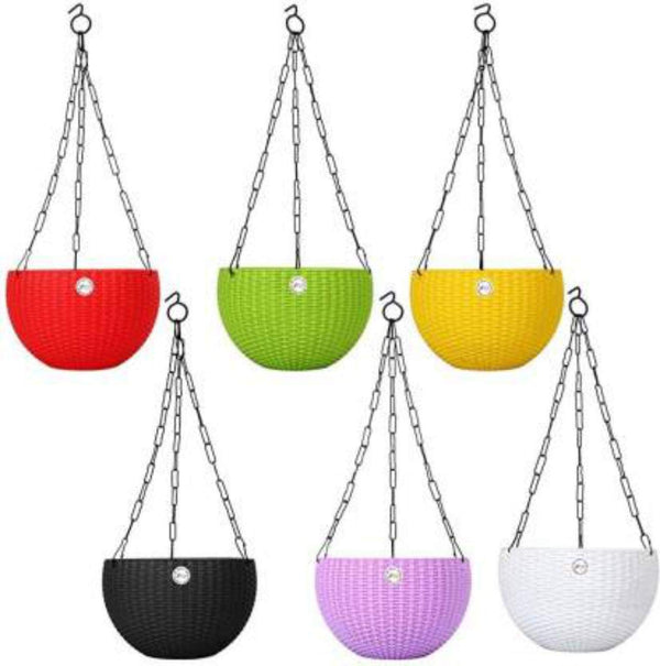 7.1 inch Rattan Woven, Multi Color -   Plastic Hanging Pots (set of 6)