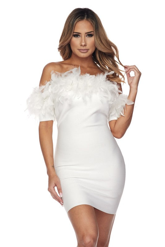 Ava Feather Bandage Dress