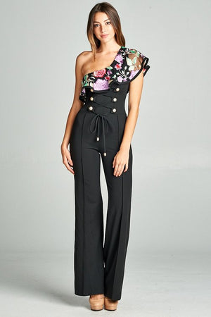 Keke One Shoulder Jumpsuit (Black)