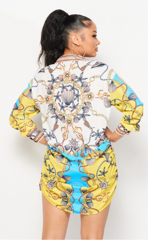 Printed Shirt Dress (Blue/Yellow)