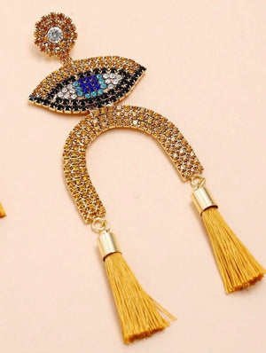 Golden Eye Tassel Earrings