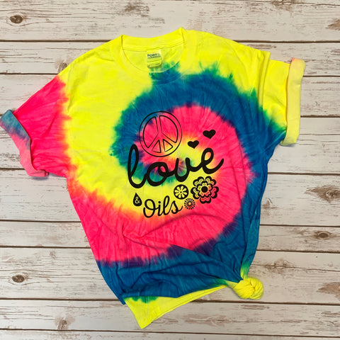Peace Love & Oils Tie Dye Unisex Tee