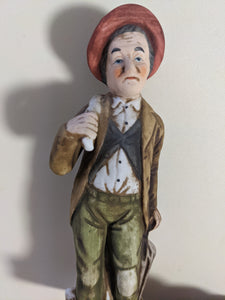 Vintage Porcelain Older Man With Umbrella and Bag Gentleman Statue