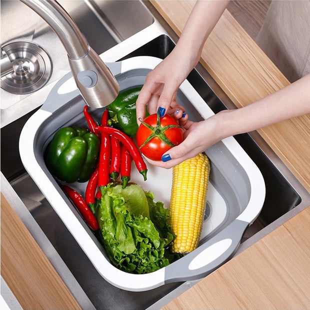 Foldable Cutting Board with Colander