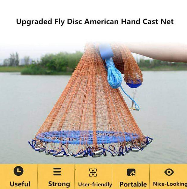 Flying Disc High Strength Fly Cast Fishing Network Throw Net