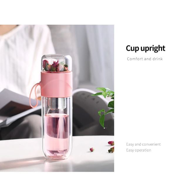 390ml Portable Double Wall Glass Travel Tea Infuser Bottle