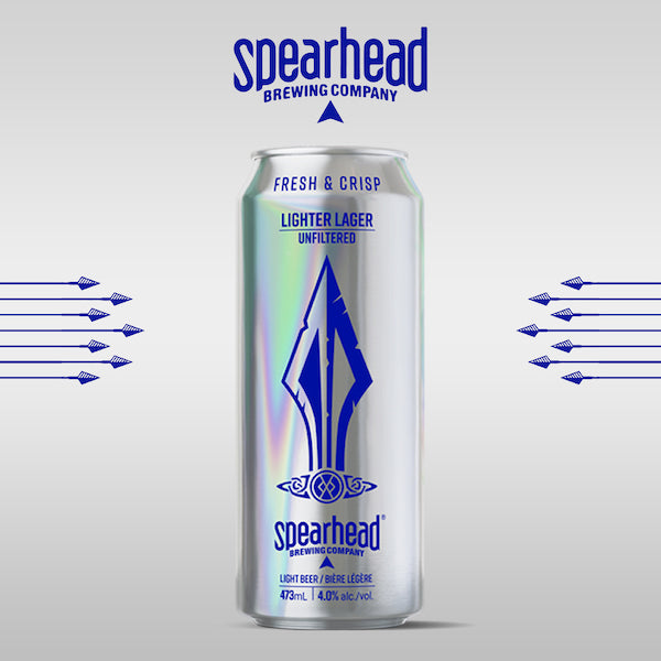 Lighter Lager from spearhead brewing company - 4% alcohol in a tall boy can. Sold as a 6 pack.