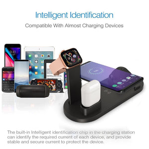4-in-1 Multi Device Charging Dock Station Pad Apple iPhone Watch Google Pixel Qi Wireless Samsung